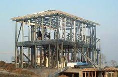 Chantier de construction d'une maison ossature metallique