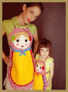 סינר בבושקה פפיטה אדומה ילדה | Mom homemade by inbalim | מרמלדה מרקט