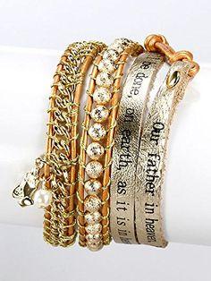 Gold,metal Amen Charm Leather with Message Wrap Bracelet Unknown http://www.amazon.com/dp/B00KXB284M/ref=cm_sw_r_pi_dp_6vMLvb0NQMNQE