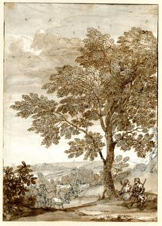 Pastoral landscape; a herdsman and woman sitting beneath a tree in the right foreground, cattle and goats at l, low hills beyond. c.1665. Pen and brown and grey ink, with grey-brown wash. Drawn by: Claude Lorrain.