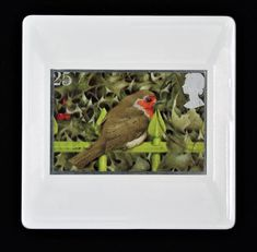 """Christmas Brooch """"European Robin on Railings and Holly"""" issued in 1995 Vintage Royal Mail Used Postage Stamp Brooch/ Badge/Pin Royal Mail Postage, European Robin, Railings, Postage Stamps, Brooches, Festive, Touch, Outfit, Handmade Gifts"""