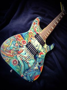 Refinished Jackson Dr7 acrylic Matt finish Guitar Painting, Guitar Art, Cool Guitar, Jackson Guitars, Play That Funky Music, Guitar Design, Woman Painting, Music Stuff, Painted Guitars