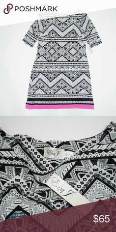 e60f9a69388 Eliza J Geometric Print Shift Dress New with tags Size 12 95% polyester