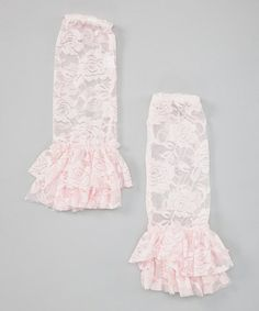 Take a look at this Light Pink Lace Flare Leg Warmers by Seesaws & Slides on #zulily today!