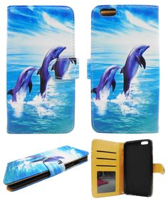 Blue Dolphins for Apple Iphone 6 Plus 6s Plus Case, Iphone 6 Plus Wallet Case Cover - Premium Pu Leather Wallet Case with Stand Flip Cover for Iphone 6 Plus (5.5). Protect your phone with style through this Attractive Protector Case and make it tamper resistance. Delivers ultimate protection from scratches and molds perfectly to device's shape to highlight its beauty. Reinforced with pu leather to the sides to ensure the durability of the case and to prolong the life of cellualar device....