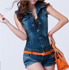 Vintage Denim Overall Shorts Womens Romper Blue Jean Jumpsuit ...