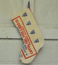 Rustic Feedsack Stocking - Capital Brand by Hawks & Doves on Scoutmob Shoppe. This rustic stocking is made from a vintage 1950s Capital Brand Turkey Feedsack.