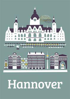 City Poster Hannover - ein Designerstück von Doro-Illustrations bei DaWanda