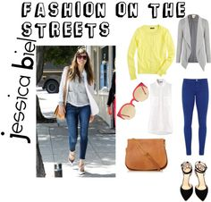 """Jessica Biel: Fashion on the streets"" by shoerevolt on Polyvore"