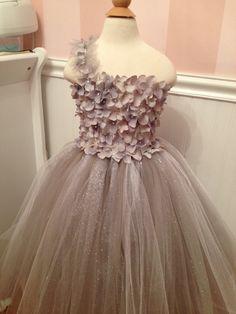 Silver Grey Flower Tutu Dress by BetterLetterLI on Etsy, $75.00