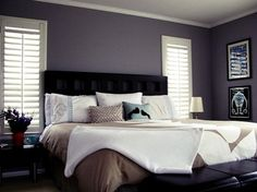 Gray master bedroom furniture bedroom decorating ideas with gray walls light gray bed grey and blue . Dark Purple Bedrooms, Purple Master Bedroom, Gray Bedroom Walls, Bedroom Blinds, Master Bedroom Design, Bedroom Colors, Grey Walls, Home Decor Bedroom, Bedroom Ideas