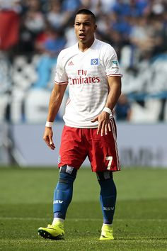 Bobby Wood of Hamburg gesticulated during the Bundesliga match between Hamburger SV and FC Ingolstadt 04 at Volksparkstadion on August 27 2016 in...