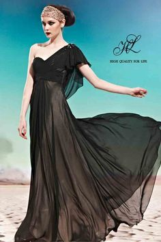 Floor length One-shoulder Black Chiffon A-line ch-0027  http://www.mydresspro.co.uk/186-toronto-2012-new