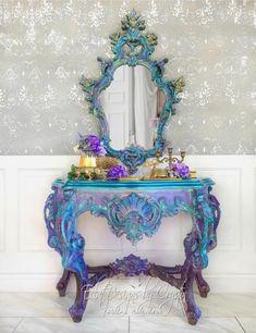 Rococo Furniture, Refurbished Furniture, Paint Furniture, Furniture Makeover, Furniture Ideas, Funky Furniture, Metallic Painted Furniture, Bohemian Furniture, Dresser Makeovers
