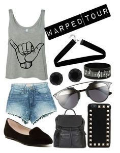 """""""Warped Tour Outfit"""" by erheab ❤ liked on Polyvore featuring Christian Dior, ALDO, Valentino, Topshop, GUESS, Anne Klein and Boohoo"""