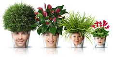 Family Photo Flower Pots-this is so much better than a chia pet! Chia Pet, Nachhaltiges Design, Design Ideas, Plant Design, Flower Pot Design, Fleurs Diy, Deco Nature, Amazing Flowers, Indoor Plants