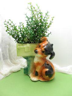 Puppy with Mailbox Planter; Royal Copley vintage ceramic