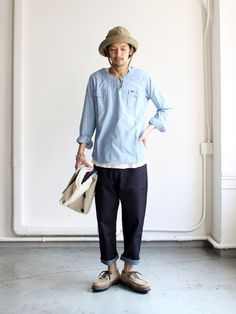 HURRAY HURRAY Denim Pant Gentleman Mode, Gentleman Style, Retro Fashion, Mens Fashion, Fashion Outfits, Loose Pants Outfit, Stylish Men, Men Casual, Japanese Outfits
