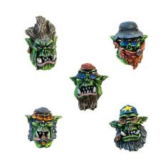 Set contains 10 resin Orc Gangsta Riderz Heads, 2 of each design, ideal for use with 28mm scale models. Supplied unpainted. This kit may requires assembly. Designed and sculpted by Marcin Szymański.Painted by Edwin