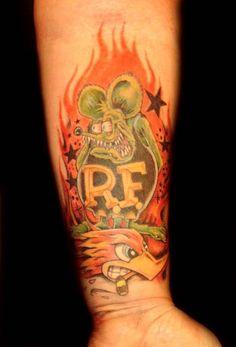 Rat Fink Father Daughter Tattoos, Tattoos For Daughters, Tattoos For Guys, Couple Tattoos, Bike Tattoos, Body Art Tattoos, Sleeve Tattoos, Tatto Old, Tatoo Art