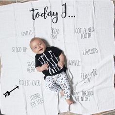 Milestone blankets track every detail of your babies life! He Today I.. Blanket tracks those first milestones like first smile, first wave, sat up for the first time and much more!