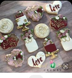 For the future Mrs & her weekend getaway! Inspired by the super talented Wife and her weekend! Inspired by the super talented 💕 Wedding Shower Cookies, Cookie Wedding Favors, Wedding Sweets, Iced Cookies, Cute Cookies, Sugar Cookies, Engagement Cookies, Anniversary Cookies, Sugar Cookie Royal Icing