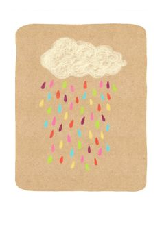 Rainbow Rain Cloud 5x7 Art Print by ellolovey on Etsy