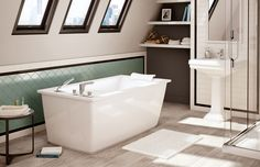 "OPTIK 6032 F - Freestanding bathtub - MAAX Collection.                             OPTIK 6032 F - 105571  Dimensions: 60 "" x 32 "" x 23 "" Water Capacity (Max, Min): 56 G , 42.5 G"