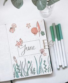Bullet Journal June Ideas that you MUST SEE! Inspiration and ideas for Bujo addicts. Get started with your bullet journal today and start creating the organised life you always knew you should have. Bullet Journal June, Bullet Journal Headers, Bullet Journal Cover Page, Bullet Journal Writing, Bullet Journal Aesthetic, Bullet Journal School, Bullet Journal Ideas Pages, Bullet Journal Inspiration, Journal Covers