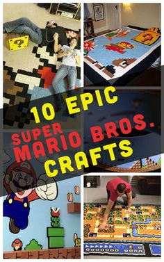 If you grew up with the Mario Brothers, these Super Mario Bros crafts will warm up your heart. Mario Crafts, Nerd Crafts, Mario Birthday Party, Mario Party, Super Mario Brothers, Super Mario Bros, Mario Room, Pottery Barn Inspired, Gamer Room