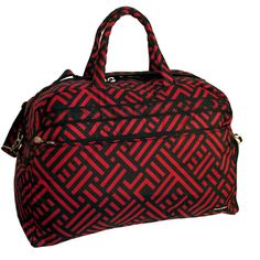 Jenni Chan Women's Signature 20-inch Carry On Soft Gym Duffel Bag ($90) ❤ liked on Polyvore featuring bags, luggage and red