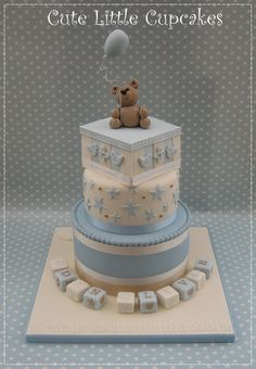 Boys Christening cake in shades of blue & cream with gold accents x