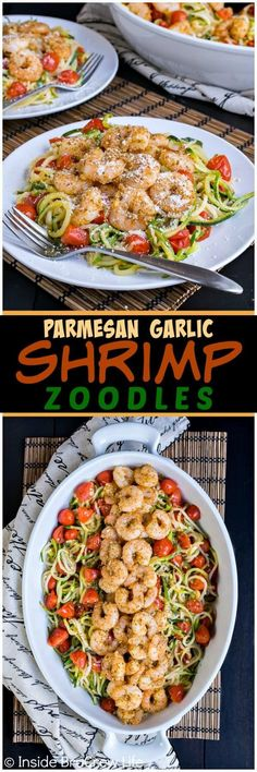 Parmesan Garlic Shrimp Zucchini Noodles - this easy dinner is loaded with zucchini noodles, tomatoes, and baked shrimp. Great lean and green option when you are eating healthy. #zucchini #healthy #leanandgreen