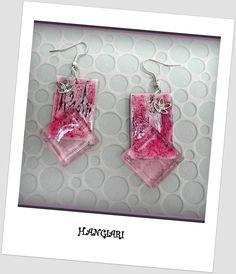 Boucles d'oreilles originales rose, rectangulaires en verre, carton, peinture : Boucles d'oreille par boucles-d-oreilles-originales-insolites