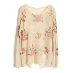 Beige Rose Flowers Print Ripped Distressed Long Sleeve Jumper ($29) ❤ liked on Polyvore featuring tops, sweaters, sheinside, jumpers, distressed sweater, long sleeve jumper, long sleeve tops, long sleeve pullover sweater and floral print sweater