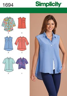 Simplicity 1694 - Misses' loose-fitting high-low blouse has button front, stand or pointed collar, back yoke and can be made sleeveless or with short or 3/4 length sleeves. A, B, C and D have hi-low hem; E and F have straight hem - tie in front for a casual look.