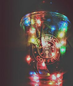 Starbucks cup with lights