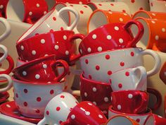 Red and White Mugs with Polka Dots