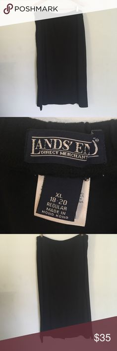 "Lands End stretch Maxi Skirt XL (18-20) Black Lands End stretch Maxi Skirt XL (18-20) Black Back slit measures 36"" long Lands' End Skirts Maxi"