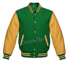 Varsity Letterman Green & Gold Jacket in Wool and Genuine Leather Sleeves Total 5 Pockets, 1 Mobile Pocket, Heated Lining Only the softest, most durable the best wool for the body and the softest wool knit for the collar, 100% high quality genuine leather. Authentic Genuine Leather Sleeves. Bush Buttons.