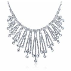 Bling Jewelry Bling Jewelry Silver Plated Art Deco Style Bridal... ($30) ❤ liked on Polyvore featuring jewelry, necklaces, grey, bridal necklace, pendant necklace, choker pendant necklace, crystal choker necklace and flapper necklace