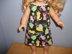 American 18 Inch Doll Clothes dress black with colorful cats by sue18inchdollclothes on Etsy