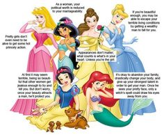 Sexist messages Disney teaches girls. Just be pretty and wait for your prince, girls!