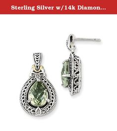 Sterling Silver w/14k Diamond & Green Quartz Earrings. Product Type:Jewelry Jewelry Type:Earrings Earring Type:Drop & Dangle Material: Primary:Gold Material: Primary - Color:White Material: Primary - Purity:14K Material: Accents:14K Gold Material: Accent Color 1:Yellow Length of Item:25 mm Width of Item:13 mm Earring Closure:Post & Push Back Stone Type_1:Prasiolite Stone Shape_1:Pear Stone Size_1:10 x 7 mm Stone Quantity_1:2 Stone Weight_1:1.530 ct Stone Setting_1:Prong Set Stone...