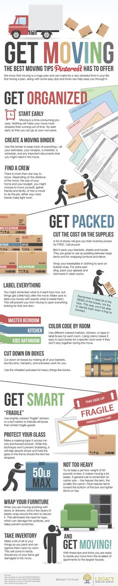 Get moving, the best moving tips Pinterest has to offer #infographic