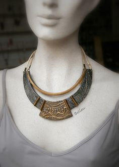 "Plastron ""antique"" bronze et cuivre : Collier par bellou                                                                                                                                                                                 More"