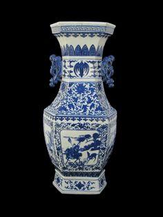 Chinese Blue & White Porcelain Hexagon Riding Horse Scenery Vase - Golden Lotus Antiques