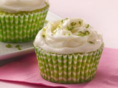 Key lime juice brings bold citrus flavor to cupcakes topped with both glaze and frosting.