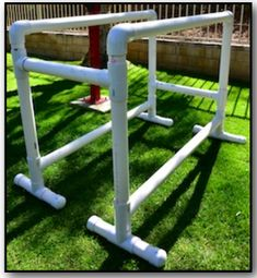 How to Make Parallel bars out of pvc pipe. Use for kids gymnastics or adults can use them in their workout routine for dips etc...  http://www.theleanberets.com/wp-content/uploads/2013/05/Bars-PVC-High.pdf