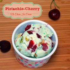 Pistachio-Cherry No Churn Ice Cream